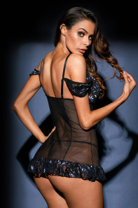 Bewitching Mesh Lace Chemise with G-string