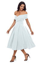 White Crossed Off Shoulder Fit-and-flare Prom Dress