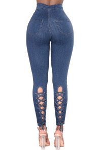 Blue High Waist Lace up Jeans