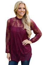 Fuchsia Glam Floral Pattern Lace Blouse with Eyelash Hem