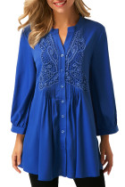 Blue Lace and Pleated Detail Button up Blouse