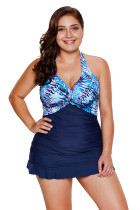 Palm Tree and Sea Print Ruffle Hem 2pcs Tankini Swimsuit