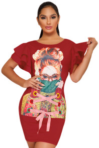 Ruffle Sleeves Graphic T-shirt Dress in Red