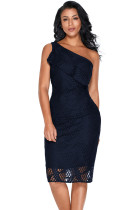 Navy Laser Cut One Shoulder Ruffle Embellished Dress