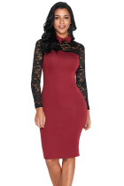 Burgundy Lace Sleeve Doll Collar Bodycon Retro Midi Dress