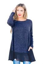 Chiffon Hemline Splice Blue Long Sleeve Top