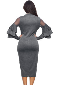 Grey Layered Bell Sleeve Mesh Cutout Sheath Dress