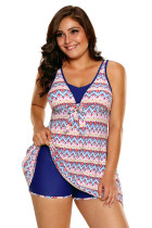 Aztec Print Bow Tie Detail Tankini and Shorts