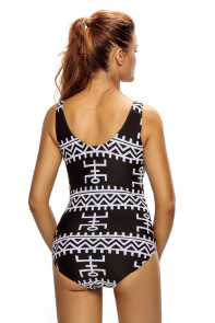Monochrome Pictographic Lace Up V Neck Teddy Swimwear