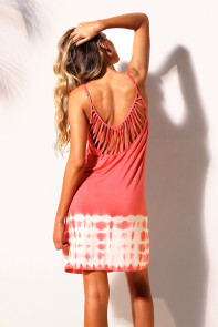 Pink Fanshaped Strappy Back Tie Dye Beach Dress