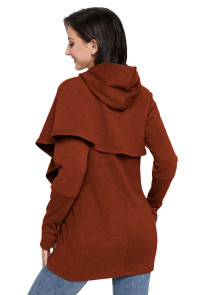 Rusty Tulip Wrap Cape Style Long Sleeve Hoodie