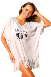 White Loose Fit Take me to the BEACH Cover up