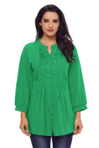 Green Lace and Pleated Detail Button up Blouse