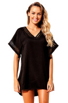 Black Hollow Out Crochet V-Neck Cover-Up