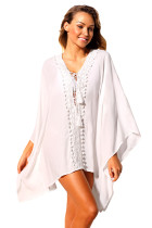 White Crochet Applique Tassel Tie Beach Kaftan