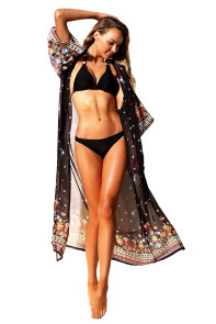 Black Maxi Beach And Street Printed Cover Up Kimono