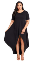 Black Plus Size Hi-Lo Slit Jersey Knit Maxi Dress