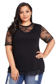 Floral Lace Splice Short Sleeve Plus Size Top