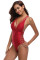 Red Plunge V-Neck Crisscross Detail Monokini