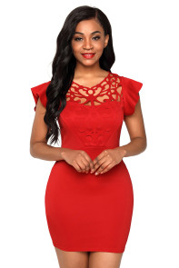 Red Ruffle Sleeves Lace Hollow Out Short Cocktail Dress