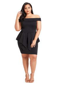 Black Plus Size Fold Over Off Shoulder Peplum Dress