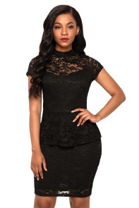 Black Women's Party Mini Lace Peplum Dress