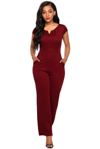 Burgundy Daily Fashion Wide Leg Jumpsuit