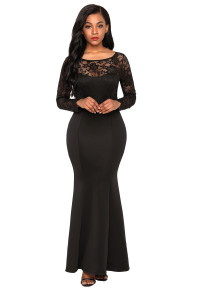 Black Lace Long Sleeve Bow Back Maxi Dress