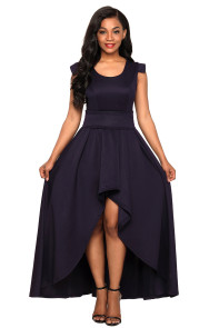 Navy Sophisticated Party Queen High Low Dress
