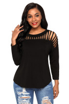 Black Front Cut Out Yoke Knit Top