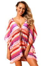 Rosy Multicolor Bohemian Print Caftan Cover-up