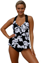 Patchwork White Printed Open Back Tankini Set
