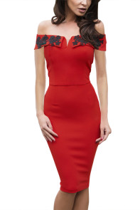 Red Embroidered Foldover Off Shoulder Neckline Slender Evening Dress