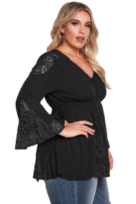 Black V Neck Lace Insert Bell Sleeves Babydoll Plus Top