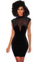 Black Mesh Bustier Velvet Mock Neck Dress