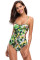Tropical Leaf Print Strappy V Back Monokini