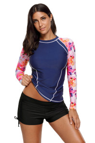 Cute Floral Long Sleeve Rashguard Top