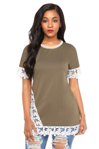 Delicate Lace Trim Olive Short Sleeve Top