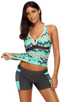 Green Tone Multicolor Two Pieces Tankini Set