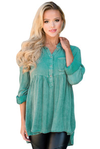 Mineral Washed Button-up Babydoll Ruffle Top in Green