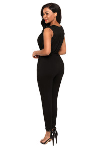 Black Deep V Neck Sleeveless Jumpsuit