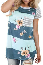 Grey White Colorblock Floral Striped Casual T-shirt