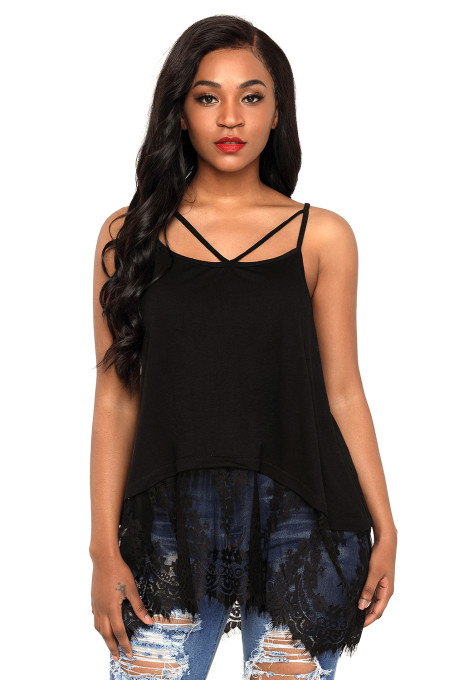 Black Sheer Lace Hem Strappy Tank Top