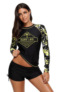 Surfing the Holiday Long Sleeve Rashguard Top
