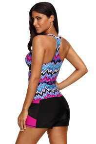 Purple Tone Multicolor Two Pieces Tankini Set