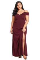 Wine Long Off the Shoulder Plus Size Gown