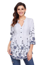 White Floral Chiffon Button-Down Pin Tuck Tunic
