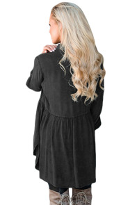 Mineral Washed Button-up Babydoll Ruffle Top in Black