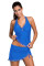 Contrast Trim Royal Blue Halter Tankini Skort Swimsuit