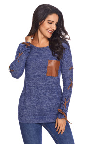 Blue Lace up Sleeve Front Pocket Women's Casual Top